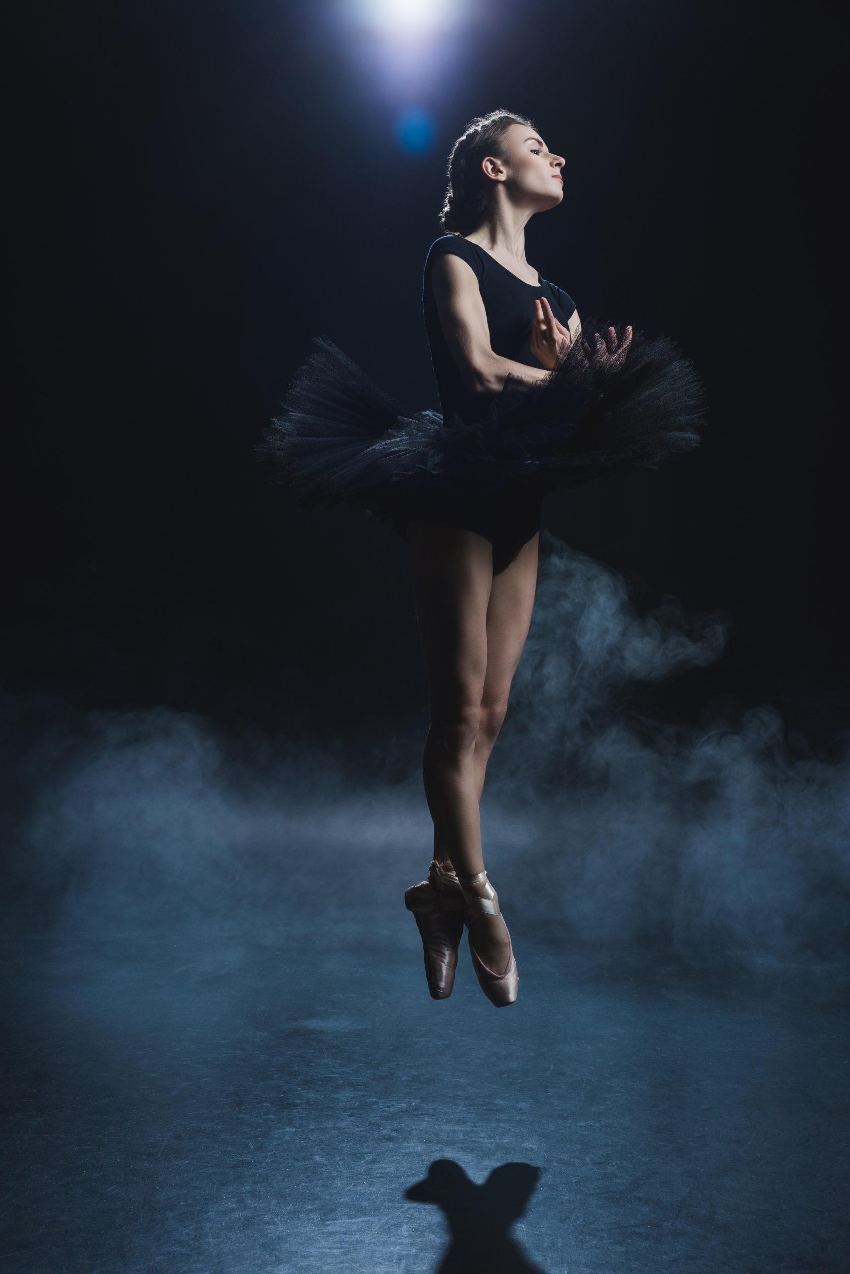 Ballerina dancing in pointe shoes