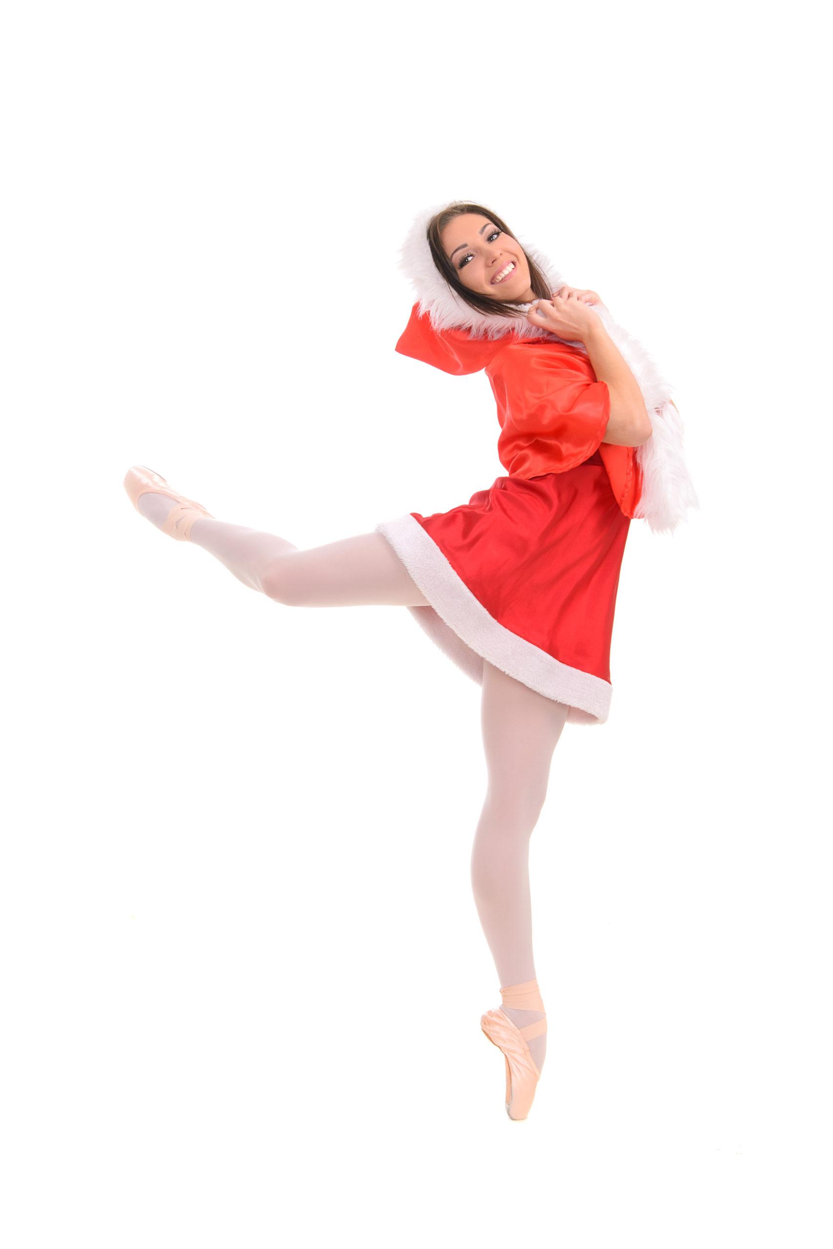 Ballet female dancer in red Christmas style